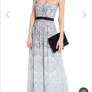 BCBGMAXAZRIA Amber Cascade Strapless Long Gown